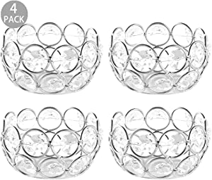DUOBEIER 4 Pcs Silver Tealight Candle Holders -Round Crystal Votive Candle Holders Bulk- Ideal for Wedding Centerpieces,Party&Home Decor