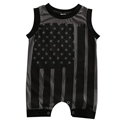 840242c4845 Winsummer Newborn Infant Baby Boy Girl 4th of July Stars and Stripes Romper  American Flag Bodysuit Shorts Clothes Outfit