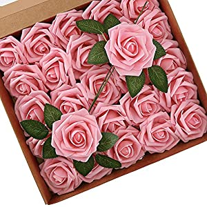 Higfra Artificial Flowers Pink Roses Real Looking Fake Roses w/Stem for DIY Wedding Bouquets Centerpieces Arrangements Party Baby Shower Home Decorations – Pink