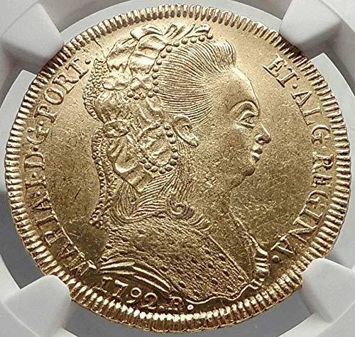 1791 BR 1791 BRAZIL Queen MARIA I Antique AV 6400 Reis Br coin MS 61 NGC