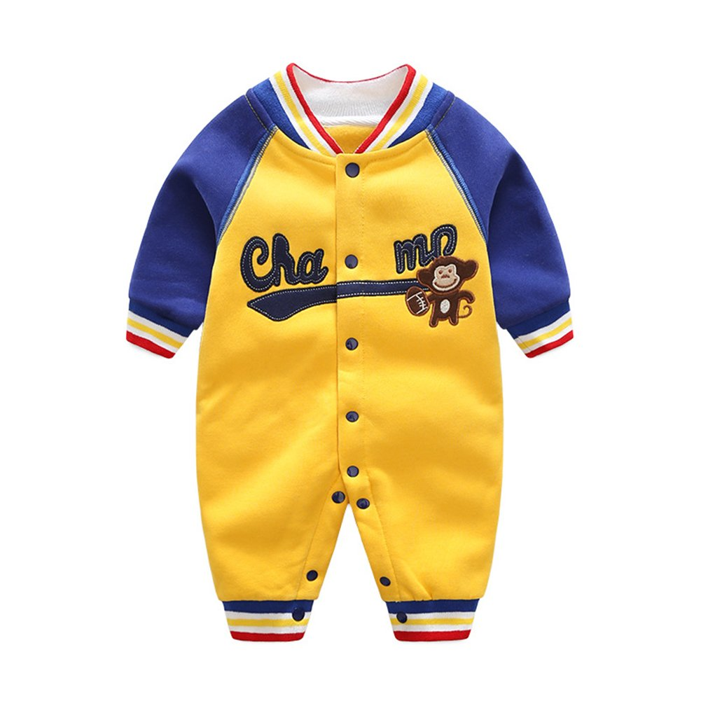 ALLAIBB Long Sleeve Embroidered Romper Casual Outfits for Baby Toddler Boys and Girls
