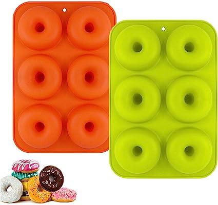 Oferta amazon: YIKEF Molde para Donut de Silicona, Juego de 2 Molde de Silicona para Hornear Donut, Antiadherente Molde de Silicona Apto para Lavavajillas, Horno, Microondas, Congelador