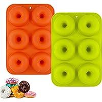 YIKEF Molde para Donut de Silicona, Juego de 2 Molde de Silicona para Hornear Donut, Antiadherente Molde de Silicona…