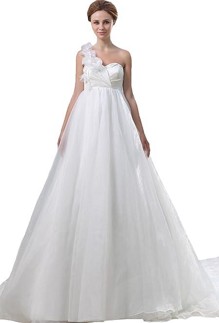 293dd6500 Vestido de novia de organza de un hombro · Diseño con flores de organza y  estructura fluida. La falda no es pesada y soporta el busto gracias a las  copas.