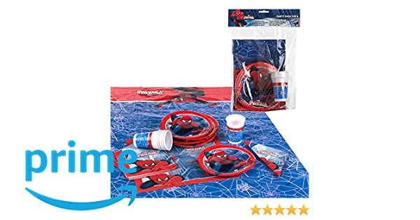 Disney - Pack de fiesta reciclable Spiderman - mantel + platos + vasos + servilletas (ColorBaby 71906)
