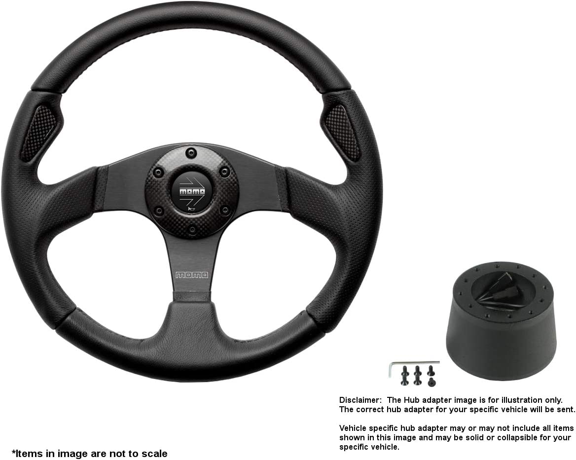 MOMO Jet 320mm (12.6 Inches) Leather Steering Wheel w/Brushed Black Anodized Spokes and Crowder's Hub Adapter for Alfa Romeo Spider Part # JET32BK0B + 513