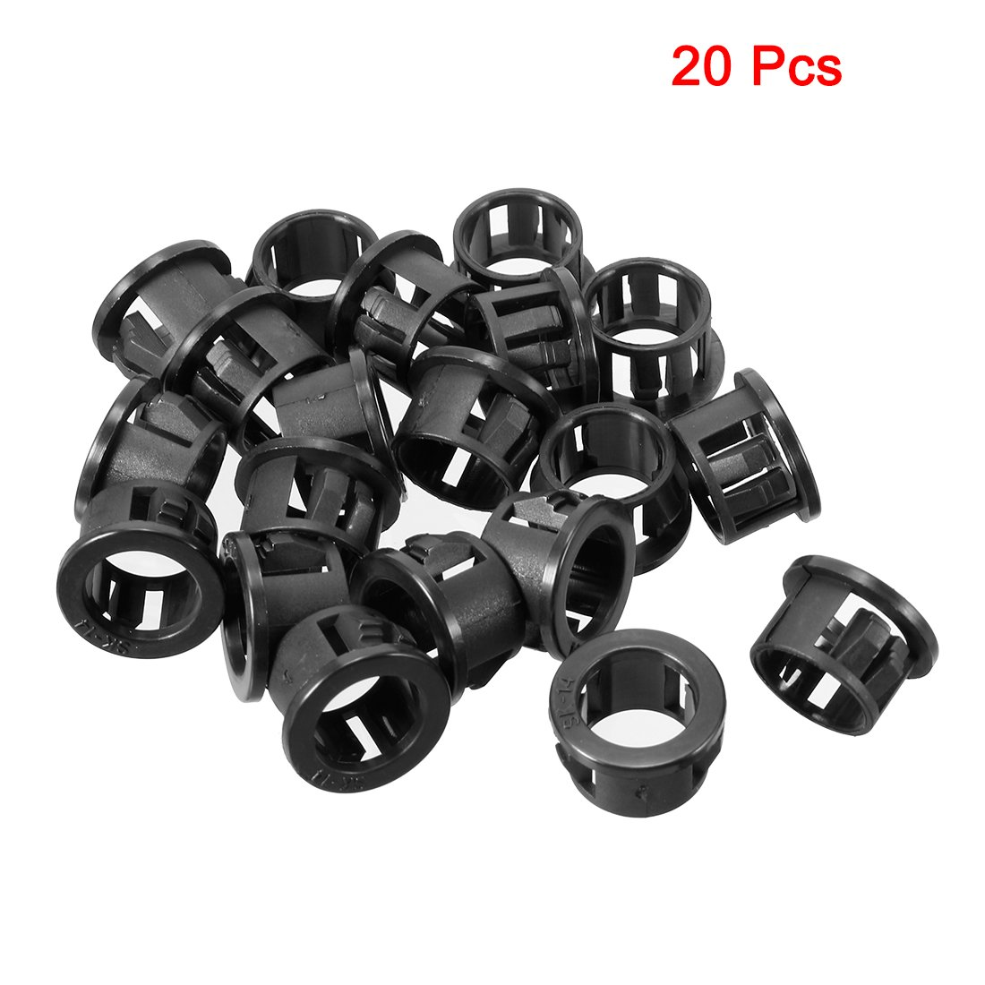 uxcell/® 20pcs 10mm Mounted Cable Hose Snap Bushing Grommet Protector Black