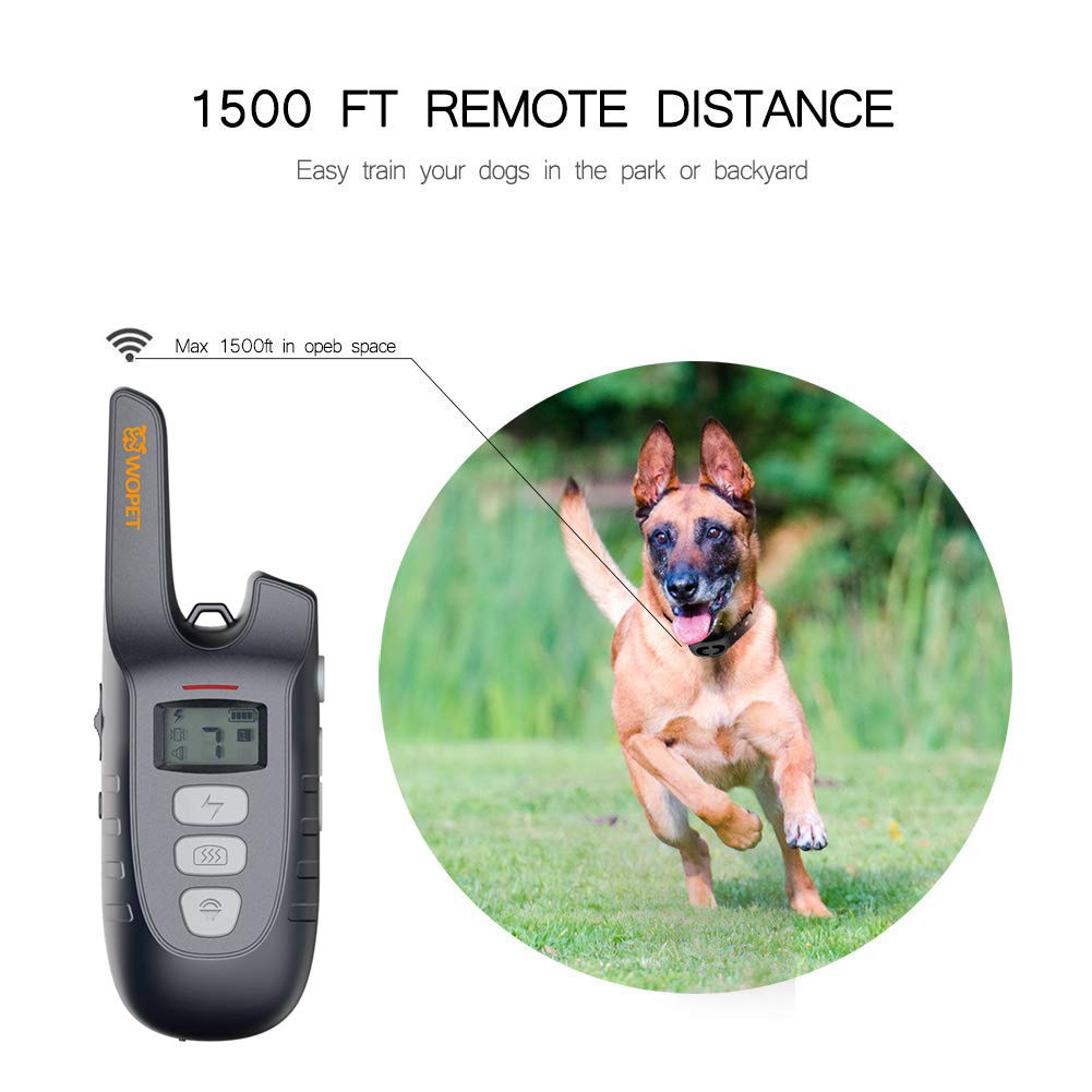 WOpet Dog Training Collar, 1500ft Remote Dog Shock Collar, 100% Waterproof and Rechargeable with Electric/Shock/Vibra/Beep Control Collar for Small Medium Large Dogs by WOpet (Image #3)