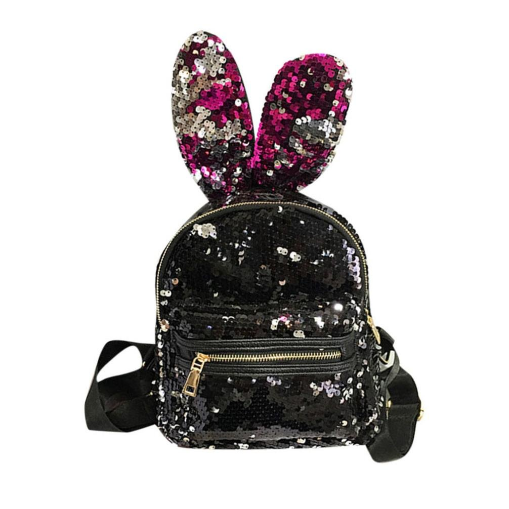 Hmlai Women Fashion Sequins Mini Backpack School Bag Travel Pack with Cute Big Rabbit Ears (Red)