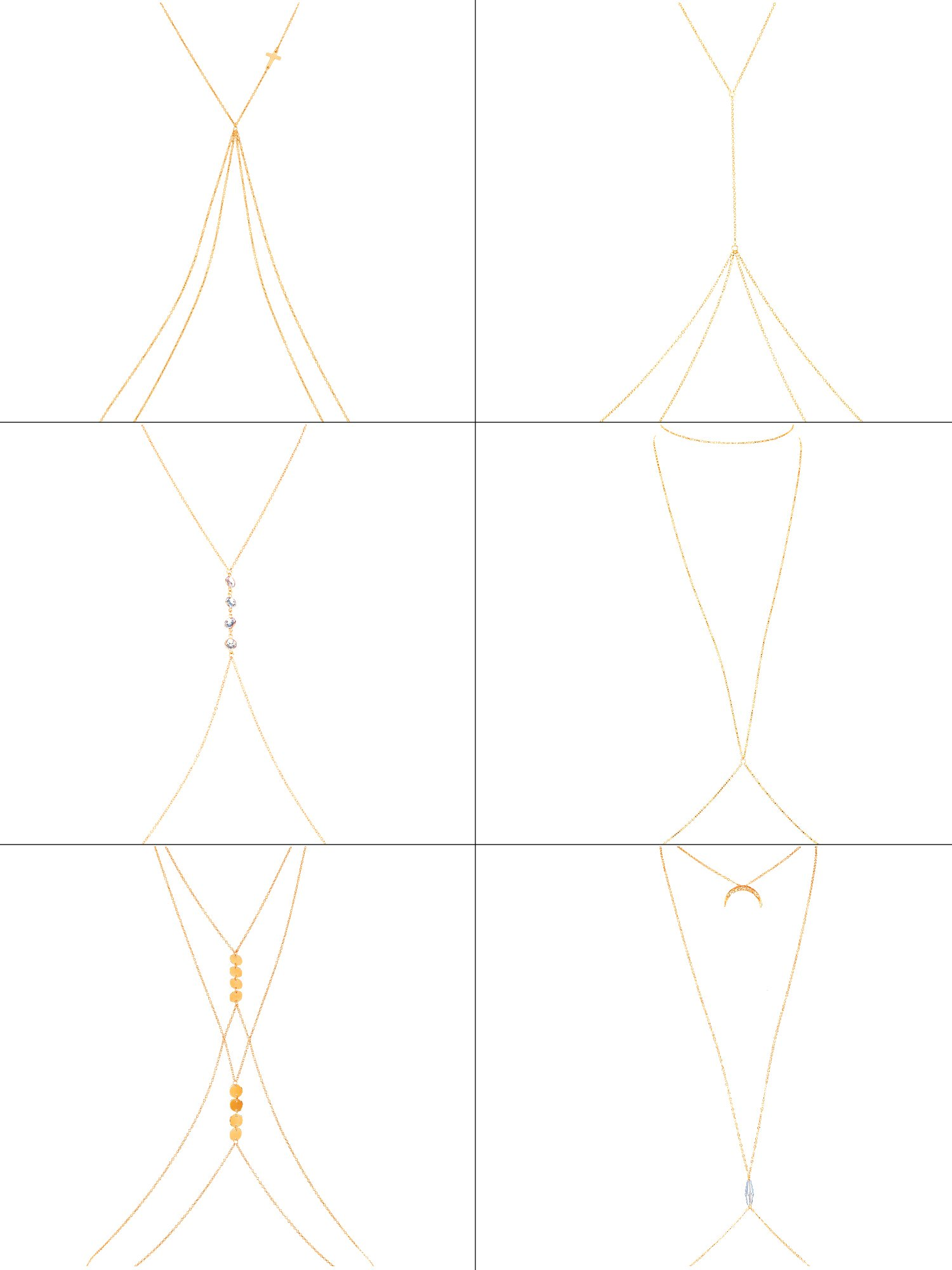 Gejoy 6 Pieces Sexy Gold Body Chains Charm Layered Belly Chain Necklace Bikini Ladies Crossover Necklace Beach Jewelry for Women