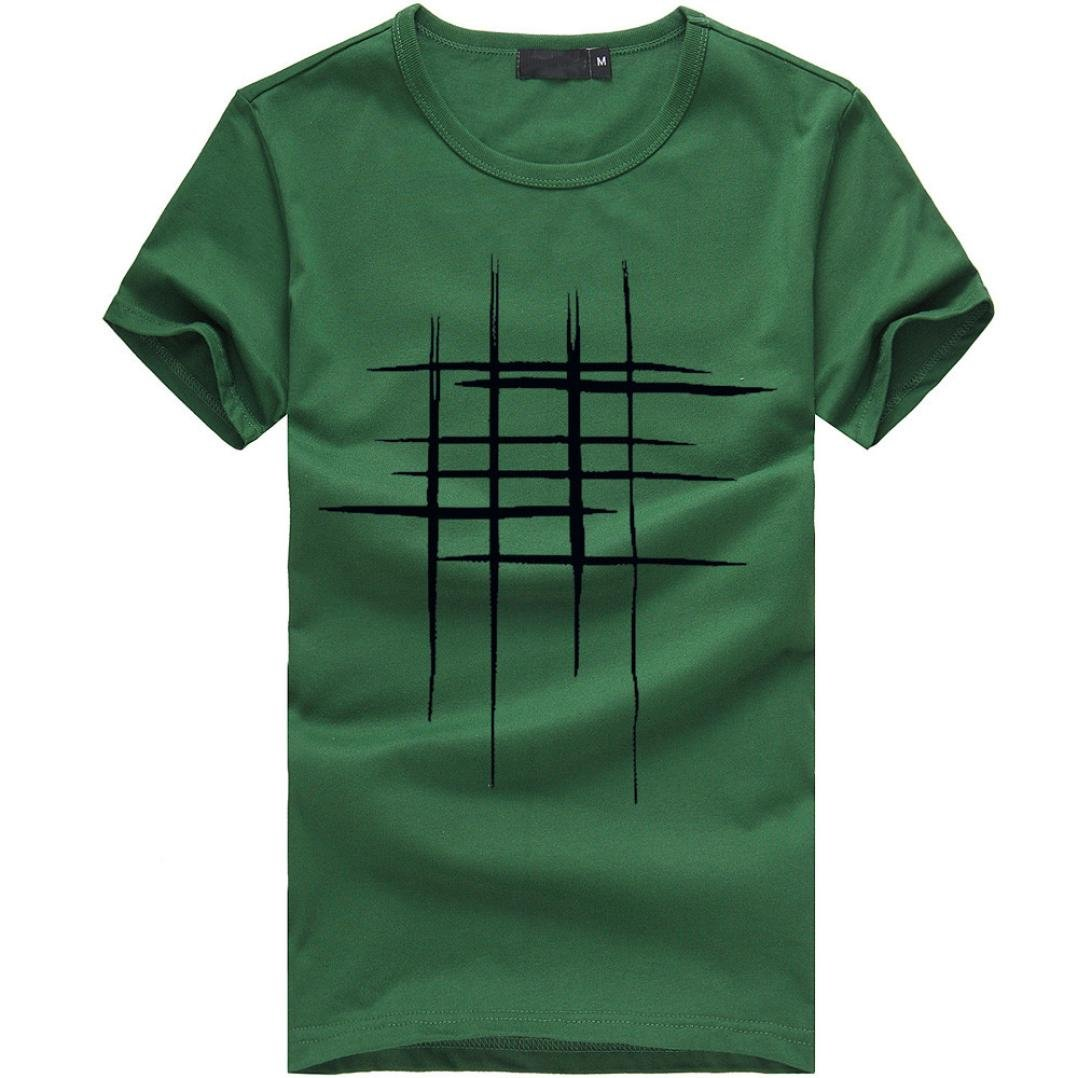 Clearance!! Men Fashion Tee Shirt,Lelili Lines Printed Short Sleeve Round Neck T Shirt Casual Blouse Tops Sweatshirt (2XL(Asian 2XL=US L), Green)