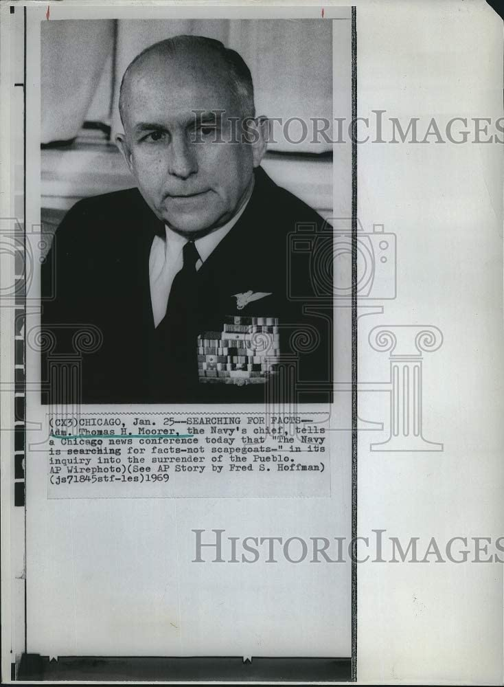 Vintage Photos 1969 Admiral Thomas H Moorer Navy Cheif of Staff 8 X11 Inches