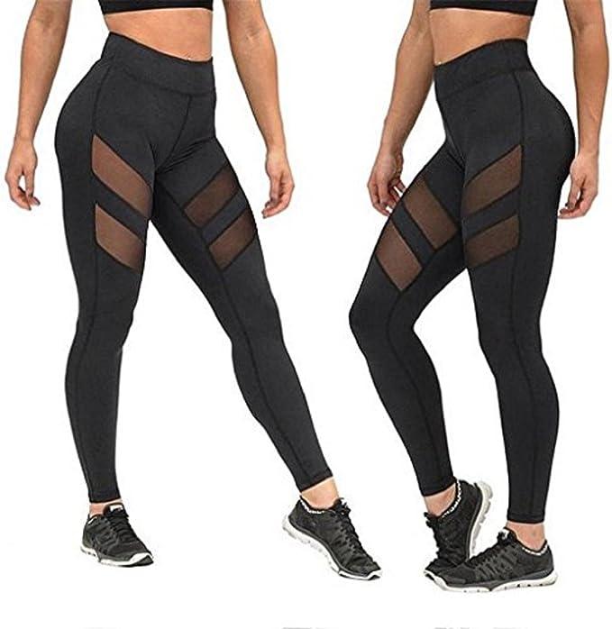 Amazon.com: Gloous - Leggings de malla para mujer, cintura ...