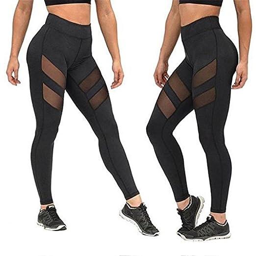 ab59c00143 Gloous Women High Waist Sexy Skinny Leggings of Patchwork Mesh Push Up Yoga  Pants (S
