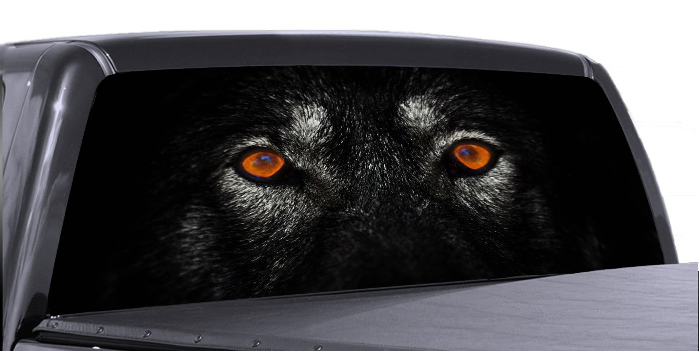 Amazon com vuscape lone wolf eyes lee830 rear window truck graphics decal suv view thru vinyl automotive