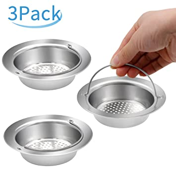 [3 Pack] Stainless Steel Kitchen Sink Strainer, Yica 4.5 Inch Diameter  Stainless