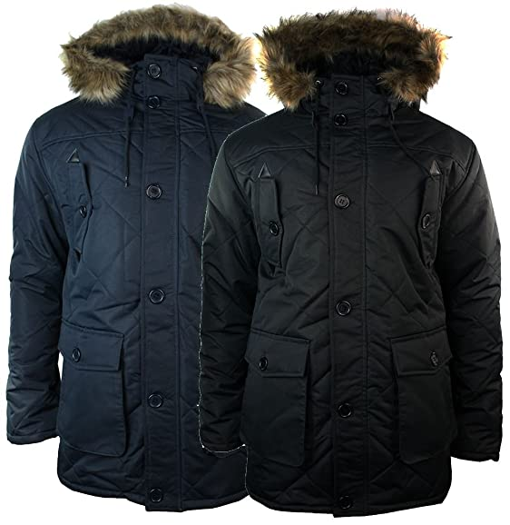 Mens Winter Warm Parka Waterproof Duffle Jacket Coat Quilted Blue ...