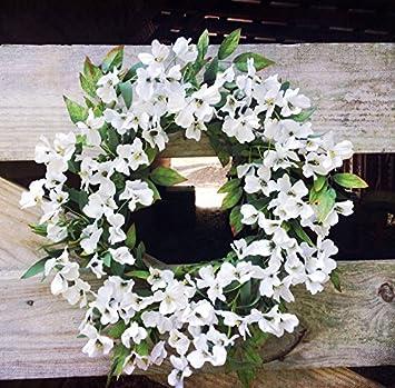 Amazon White Dogwood Flower Wreath 22 Home Kitchen