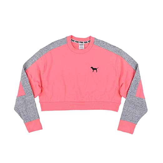 aad6bcd44dc50 Victoria's Secret Pink Cropped Colorblock Pullover Sweatshirt (S ...