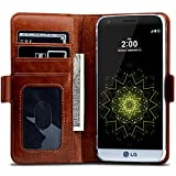 LG G5 Wallet Case TSCASE Premium Genuine Leather Wallet Folio Super Slim Cover Case Book Design with Flip Cover Three Credit Card Slot with Money Pocket Stand Magnet Closure for LG G5 Brown