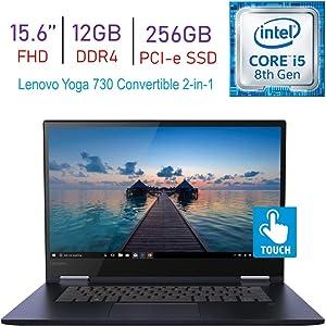 Lenovo Yoga 730 15.6-inch 2-in-1 Touchscreen FHD IPS (1920x1080) Laptop PC, 8th Gen Intel Quad Core i5-8265U, 12GB DDR4, 256GB PCI-e SSD, Thunderbolt, Backlit Keyboard, Fingerprint Reader, Windows 10