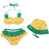 Amberetech 3pcs Toddler Baby Girls Swimwear Cute Watermelon/Pineapple/Strawberry Bikini Set Swimsuit Beachwear Outfits