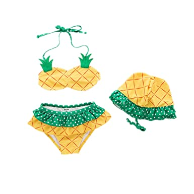 9805f927fb568 WINZIK Baby Girls Swimwear 3pcs Cute Pineapple Toddler Kids Halter Bikini  Tankini Swimsuit Beachwear Bathing Suit