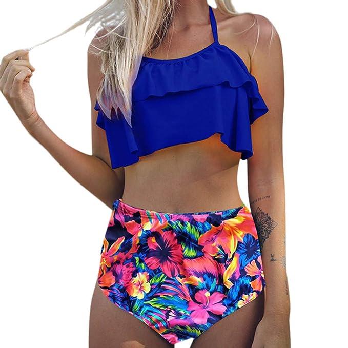 zarupeng Mujer Cintura Alta Bikini Estampado de Flores Traje de baño Ropa de Playa Femenina Traje de baño: Amazon.es: Ropa y accesorios