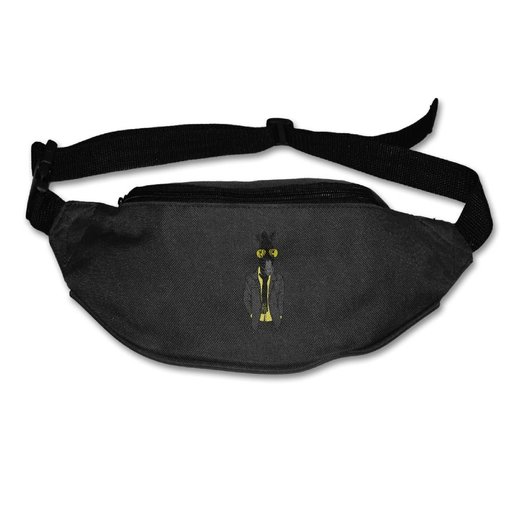 Janeither Unisex Pockets Zebra With Glasses Fanny Pack Waist/Bum Bag Adjustable Belt Bags Running Cycling Fishing Sport Waist Bags Black