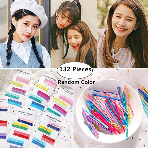 About 132 Piece Hair Bobby Pins, Magnoloran Rainbow Candy Color Hair Barrette Clip Wavy U Comb Hair Pins Metal Clips Hair Styling Tool for Women Girls and Hairdressing