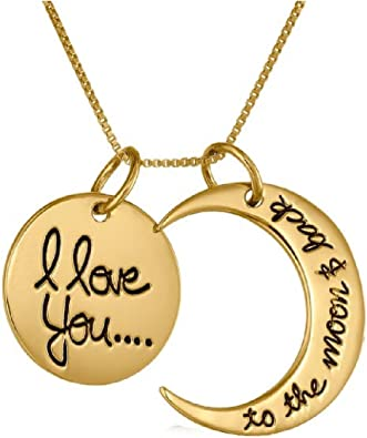 I Love You To The Moon And Back Silver Pendant Glass Necklace New in Gift Bag