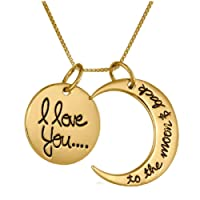 Gold / Silver I Love You To The Moon & Back Necklace Pendant Charm Gift Present