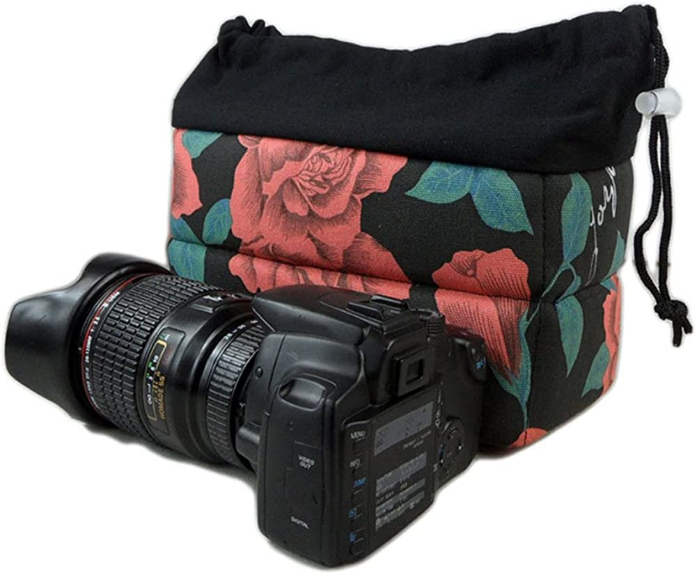 Yimidear Women Stylish Floral Design SLR DSLR Camera Bag Shockproof Padded Partition Camera Insert Protective Case for Sony Canon Nikon Olympus Pentax and etc