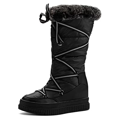 da6e0979479 Jivana Women's Winter Flat Mid-Calf Snow Boots Hidden Heel Wedge Bootie