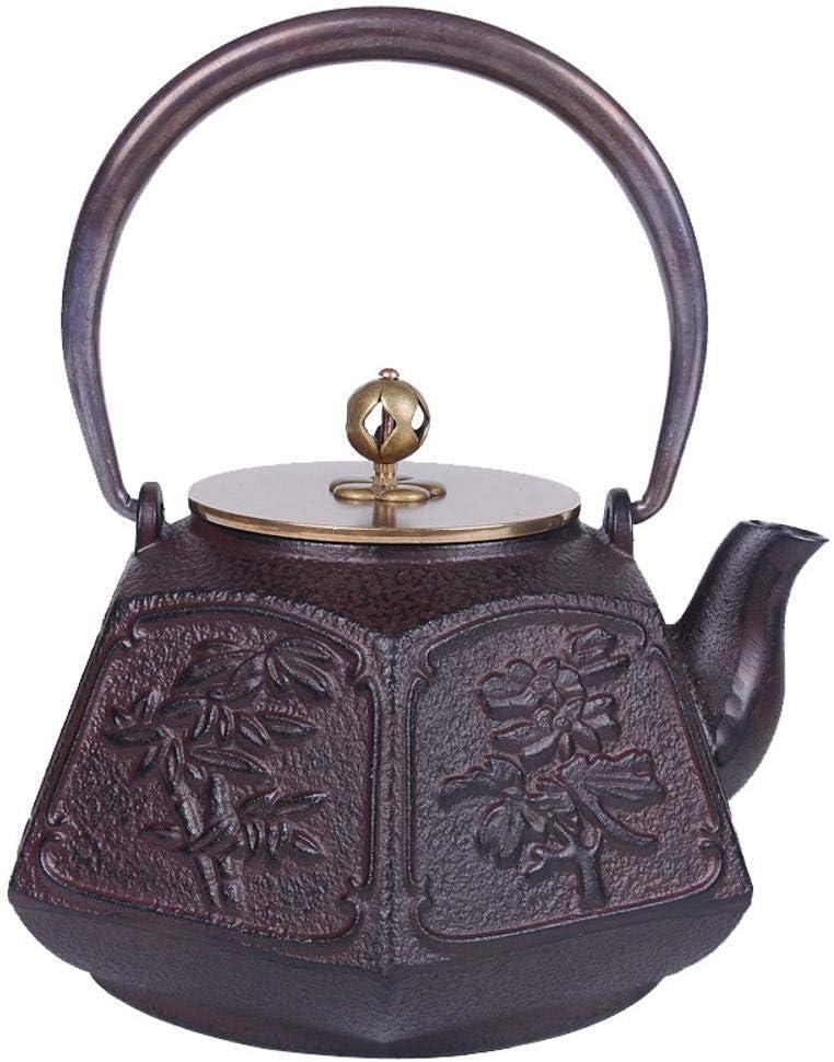 QINJLI Olla de hierro fundido tetera hierro antiguo japonés sur caldera de hierro fundido pote caballero fusheng Wan tetera té tetera 1,2 L