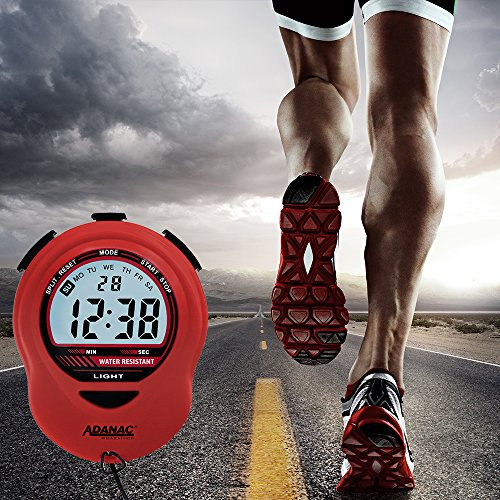 MARATHON ST083013 Adanac Digital Glow Stopwatch Timer with Extra Large Display and Digits Battery Included