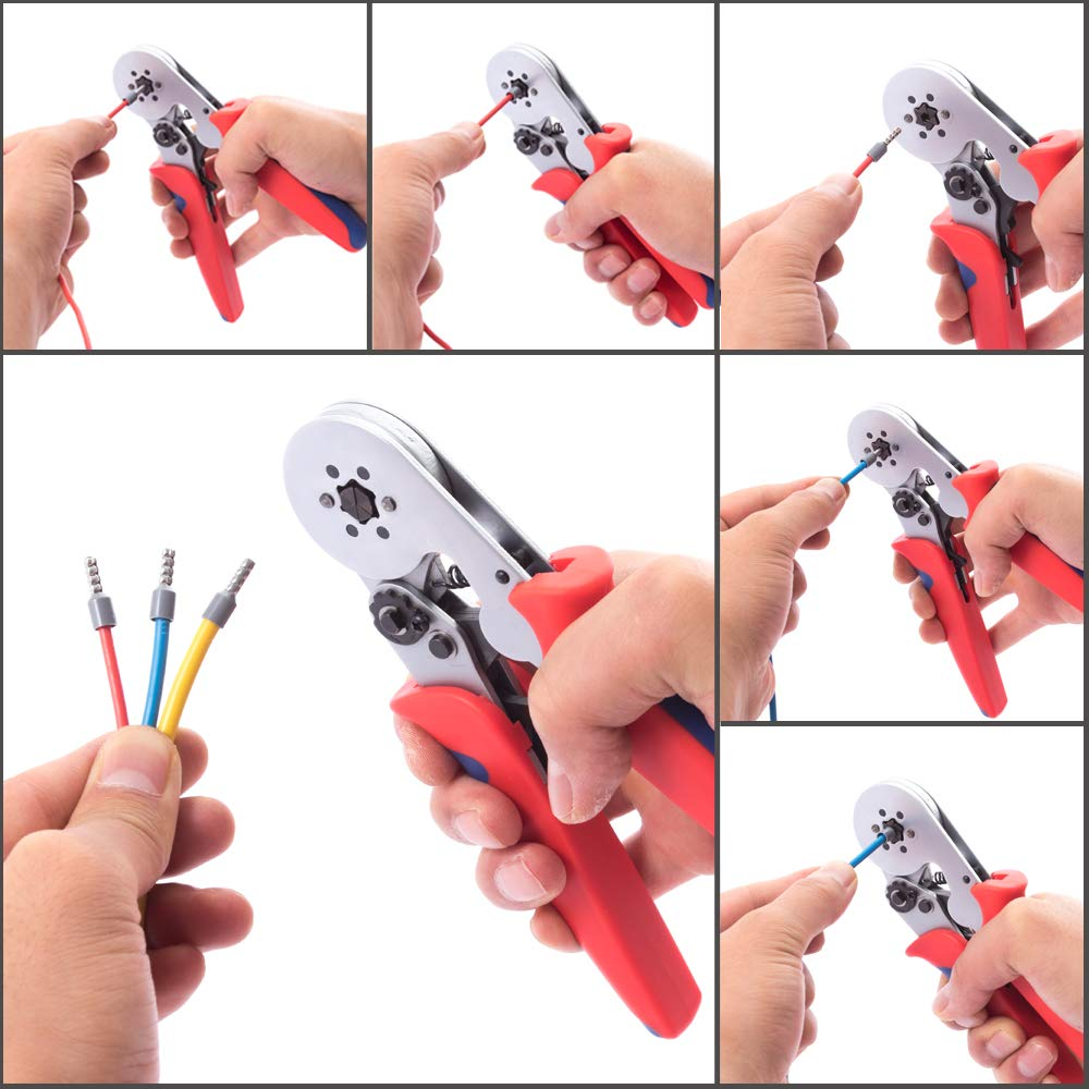 Haicable Hexagonal Wire Crimper Plier LXC8 6-6R For End Sleeves And Twin End Sleeves Terminals 24-10AWG Self-adjustable Crimping Tool