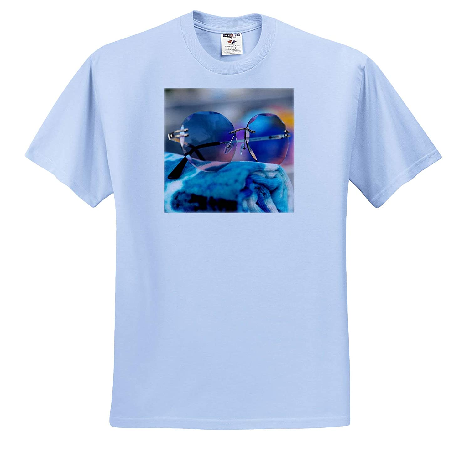 Photograph of a Fun Pair of Sunglasses on a Rolled up Towel Seasonal ts/_315594 - Adult T-Shirt XL 3dRose Stamp City