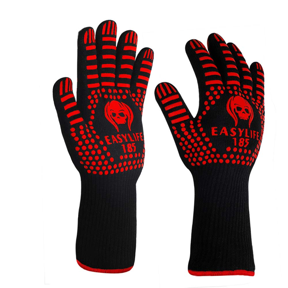 BBQ Grilling Gloves, Black Extreme Heat Resistant Oven Mitts Gloves Protect to 1472 ºF with Silicone Non-Slip Grips for Cooking, Kitchen, Smoker Baking, Barbecue, Fireplace, Welding, Cutting - 1 Pair