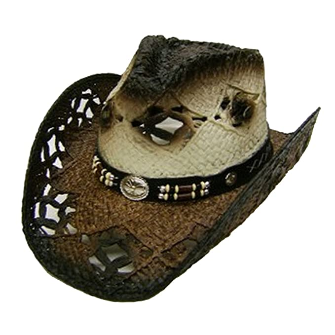 a381b3fe644 Modestone Unisex Straw Cowboy Hat Brown Off White  Amazon.ca  Clothing    Accessories