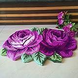 Cheap yazi 2 Roses Carpet Floor Mat Purple Color Printing Rug Flower Rug Kitchen Area Rugs Modern Living Room Rugs 27.5×23.6