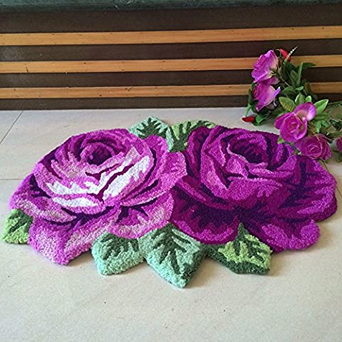 yazi 2 Roses Carpet Floor Mat Purple Color Printing Rug Flower Rug Kitchen Area Rugs Modern Living Room Rugs (Flower Living Room Rug)