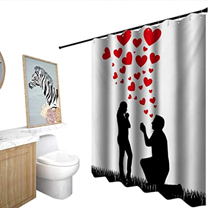 da89af3b4fd homecoco Engagement Party Floral Shower Curtain Wedding Proposal of  Romantic Couple with Hearts Image Happiness Bathroom