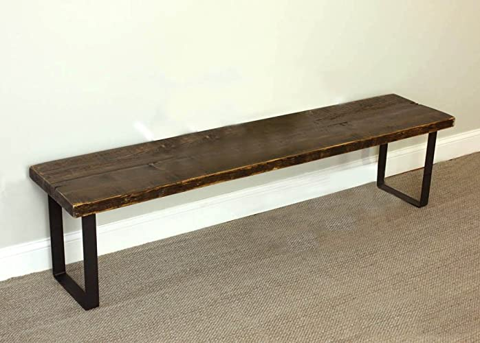 Industrial Steel Leg Bench, Reclaimed Wood, Dining Bench, Entry Bench