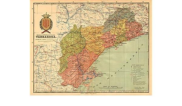 TARRAGONA. Cataluña Catalunya Catalunya Mapa antiguo Provincia. Martin - c1911 - Mapa antiguo vintage - Mapas impresos de España: Amazon.es: Hogar
