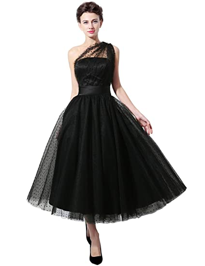 Clearbridal Womens Black Tulle Short Prom Dress Tea Length One Shoulder Prom Gown SD337, Black