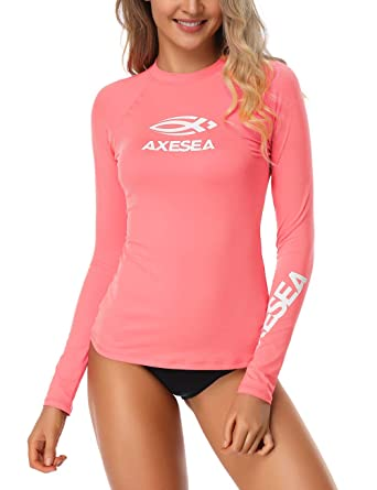 7d39e2c06c73 AXESEA Women Rash Guard Long Sleeve Active Top UPF 50+ Rashguard Swim Shirt  Surf Swimwear at Amazon Women s Clothing store