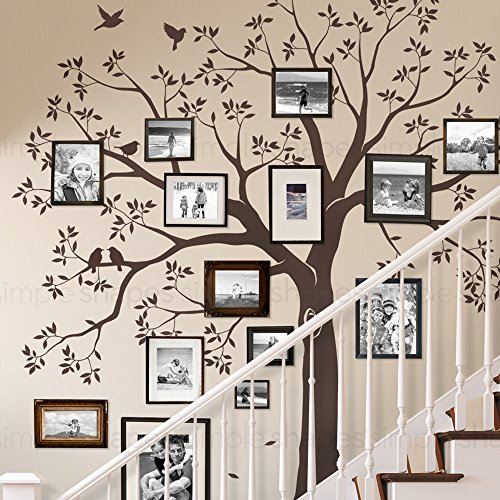 Staircase family Tree Wall Decal Tree Wall Decal - (Chestnut Brown, Small Size : 92w x 88h Inch) - by Simple Shapes