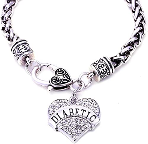 Handmade Beaded Medical Alert ID bracelet Diabetes Diabetic Heart Charm Love