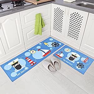 "Carvapet 2 Piece Non-Slip Kitchen Mat Rubber Backing Doormat Runner Rug Set, Sailor Design (Sky Blue 15""x47""+15""x23"")"